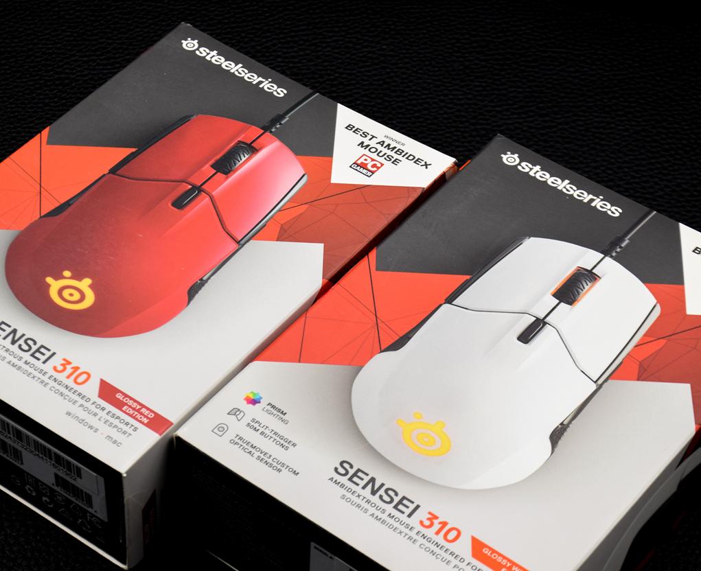 赛睿Sensei 310游戏鼠标火星红、北极白图赏