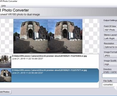 VR Photo Converter将VR 180照片添加到VR视频